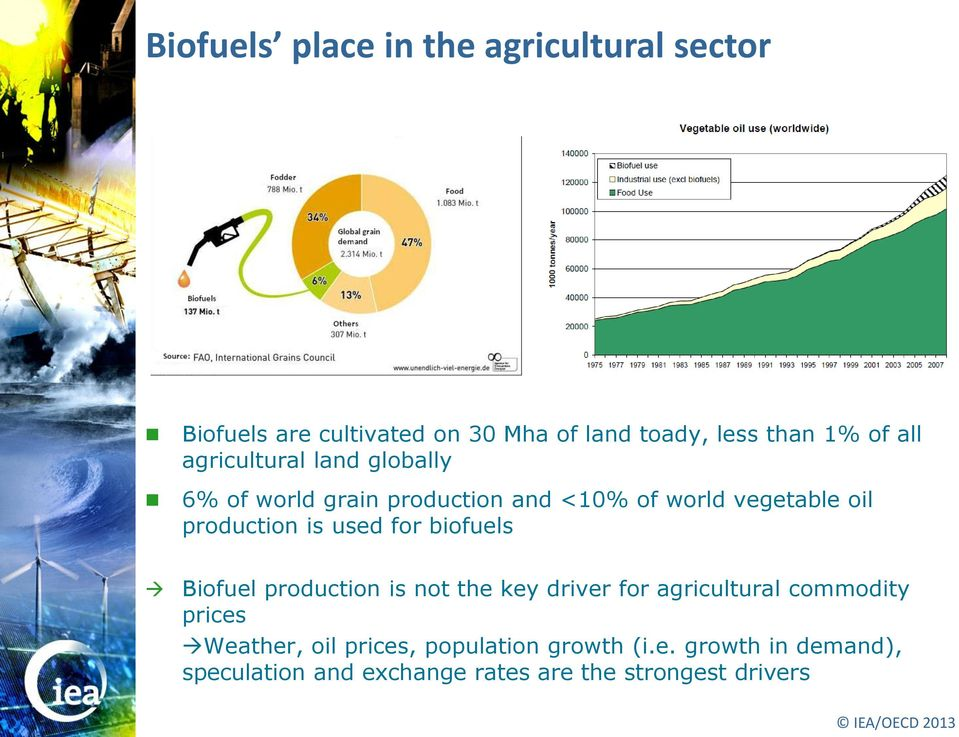 used for biofuels Biofuel production is not the key driver for agricultural commodity prices Weather, oil