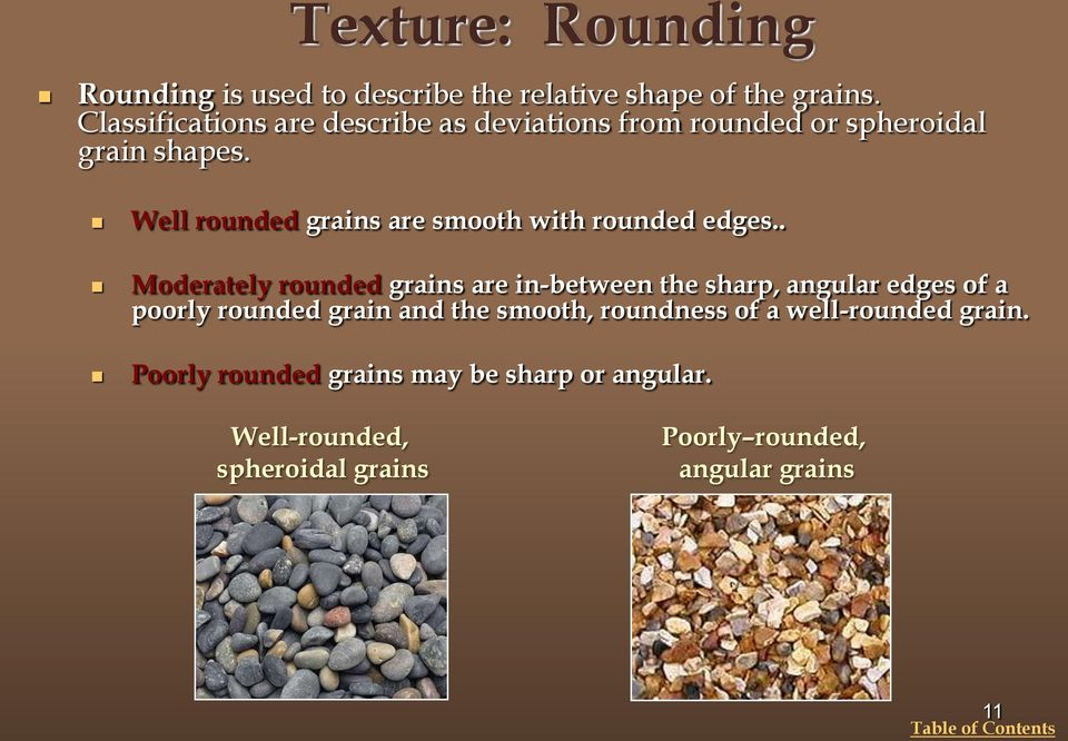 Well rounded grains are smooth with rounded edges.