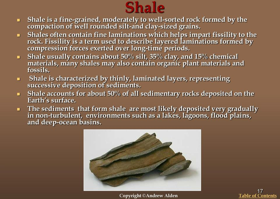 Shale usually contains about 50% silt, 35% clay, and 15% chemical materials, many shales may also contain organic plant materials and fossils.