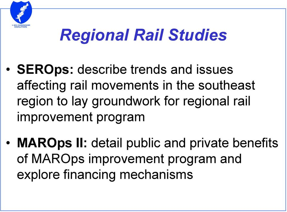 regional rail improvement program MAROps II: detail public and
