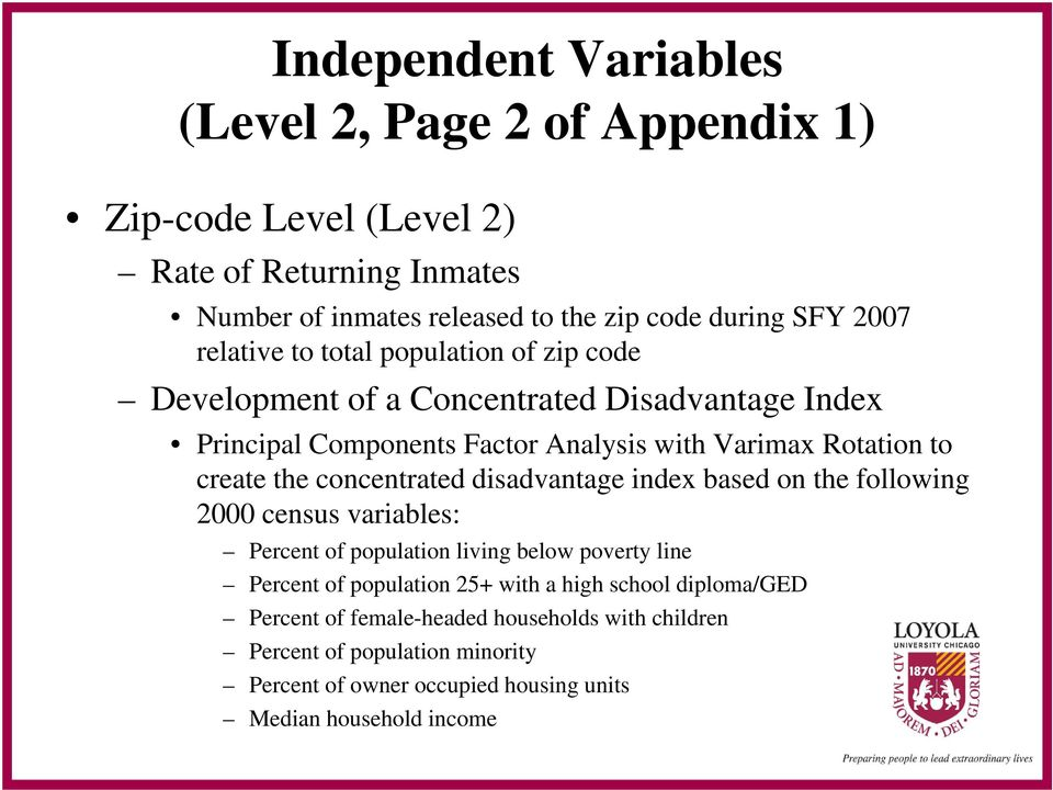 concentrated disadvantage index based on the following 2000 census variables: Percent of population living below poverty line Percent of population 25+ with a high