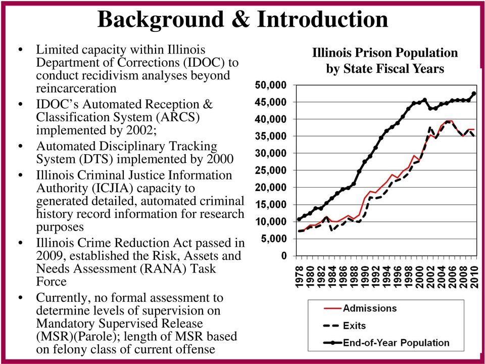 automated criminal history record information for research purposes Illinois Crime Reduction Act passed in 2009, established the Risk, Assets and Needs Assessment (RANA) Task Force Currently,