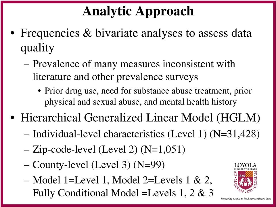 mental health history Hierarchical Generalized Linear Model (HGLM) Individual-level characteristics (Level 1) (N=31,428)