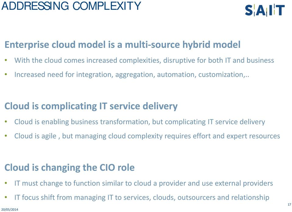 . Cloud is complicating IT service delivery Cloud is enabling business transformation, but complicating IT service delivery Cloud is agile, but managing cloud