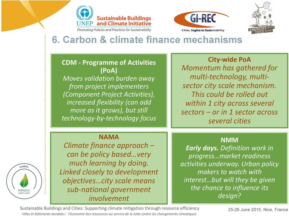 This could be rolled out within 1 city across several sectors or in 1 sector across several cities NAMA Climate finance approach can be policy based very much learning by doing.