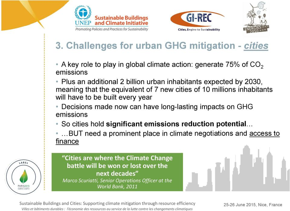 have long-lasting impacts on GHG emissions So cities hold significant emissions reduction potential BUT need a prominent place in climate negotiations and
