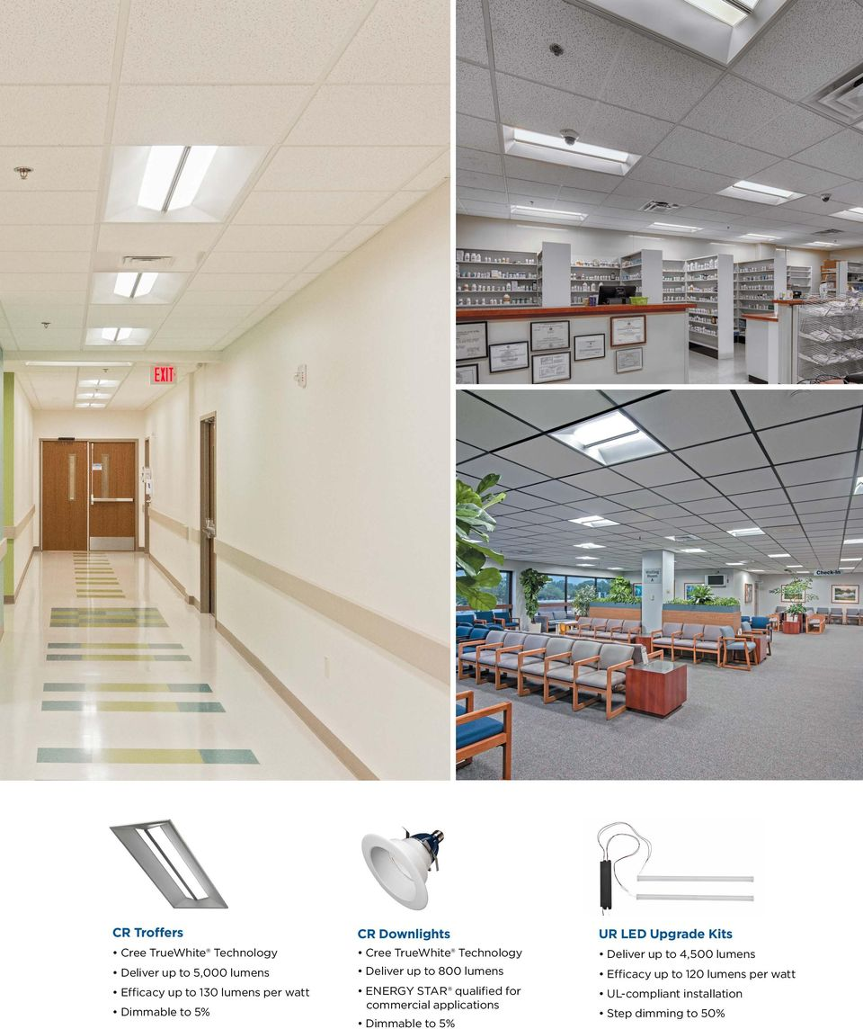 commercial applications Dimmable to 5% UR LED Upgrade Kits Deliver up to 4,500
