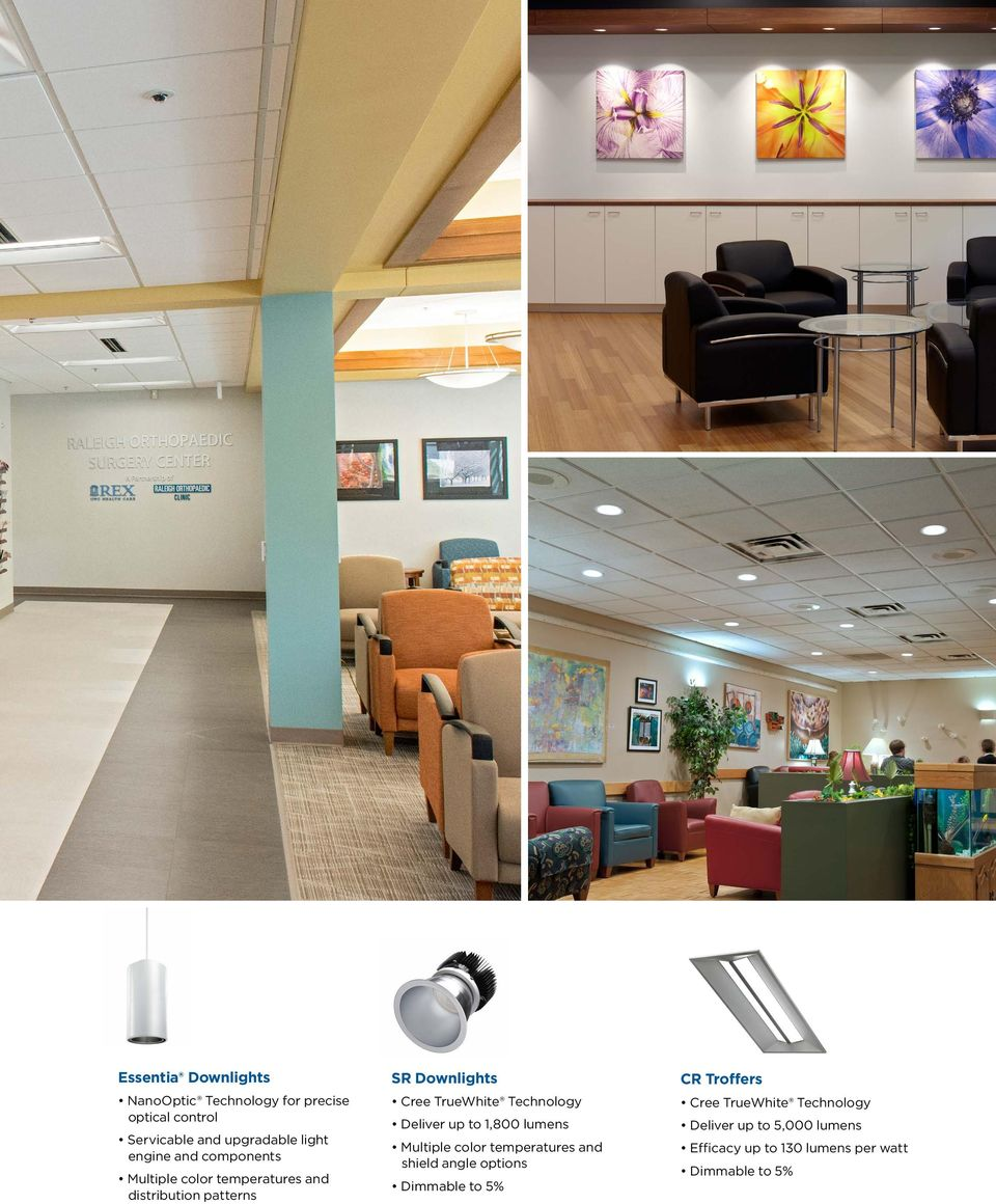 SR Downlights Deliver up to 1,800 lumens Multiple color temperatures and shield angle options