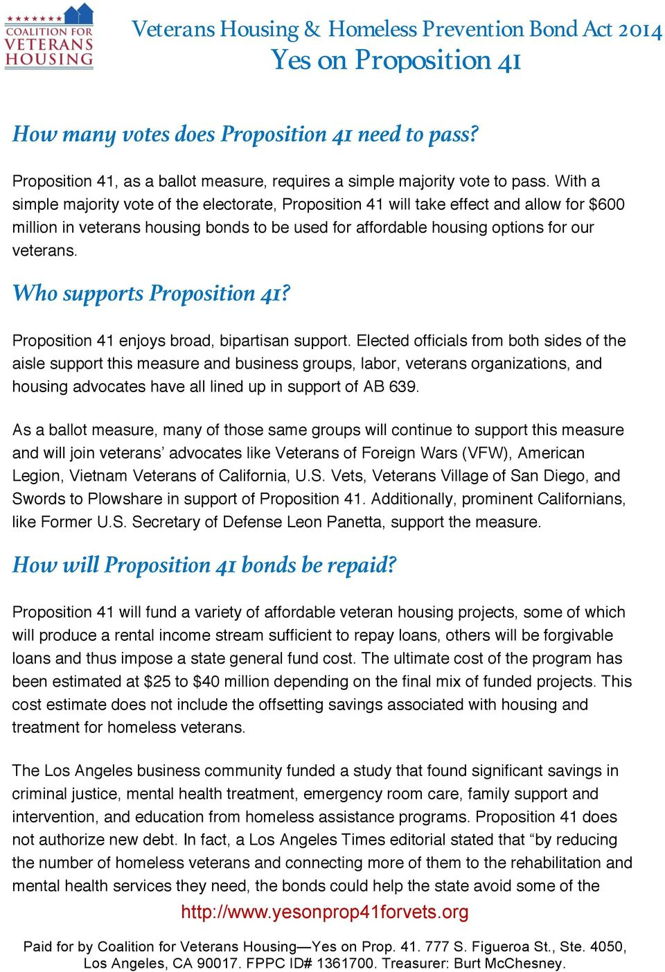 Who supports Proposition 41? Proposition 41 enjoys broad, bipartisan support.