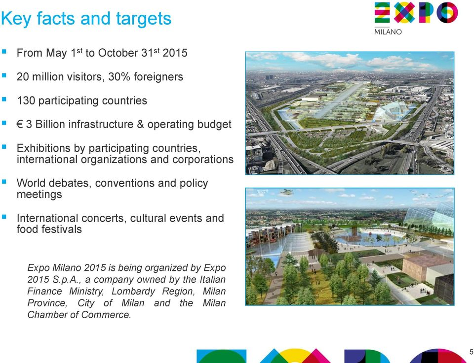 conventions and policy meetings International concerts, cultural events and food festivals Expo Milano 2015 is being organized by Expo