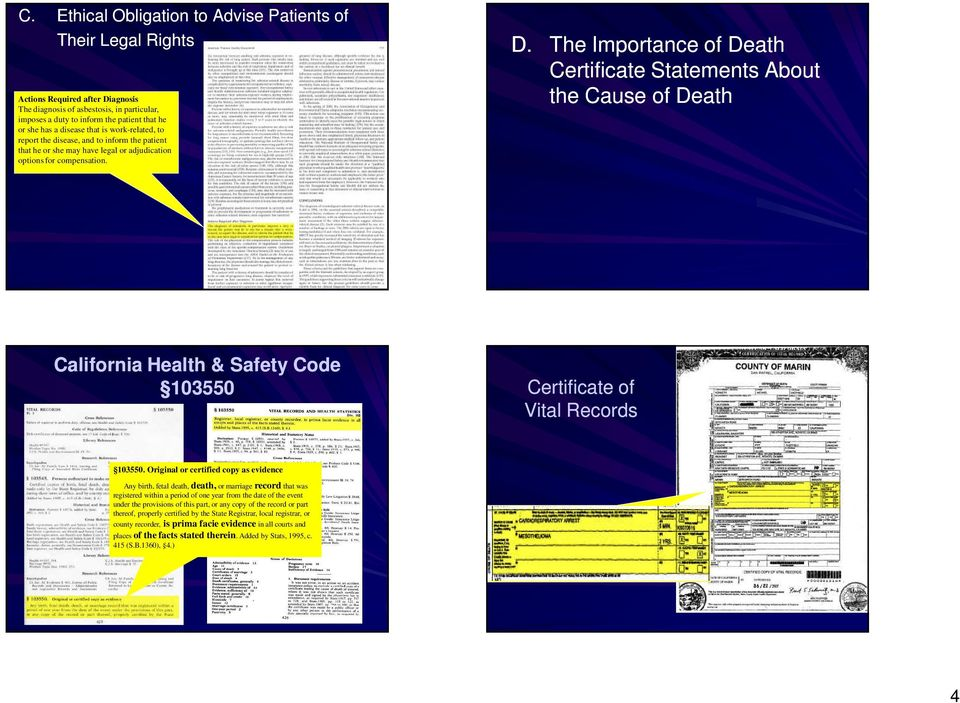 The Importance of Death Certificate Statements About the Cause of Death California Health & Safety Code 103550 Certificate of Vital Records 103550.