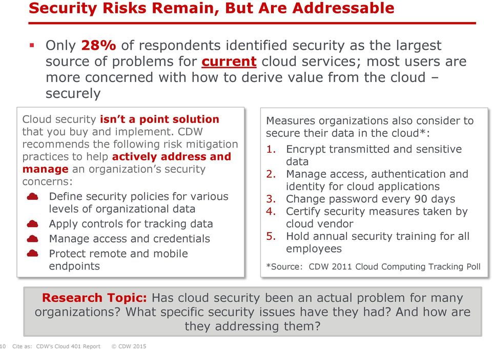 CDW recommends the following risk mitigation practices to help actively address and manage an organization s security concerns: Define security policies for various levels of organizational data
