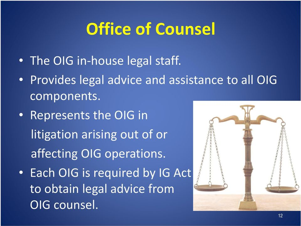 Represents the OIG in litigation arising out of or affecting OIG