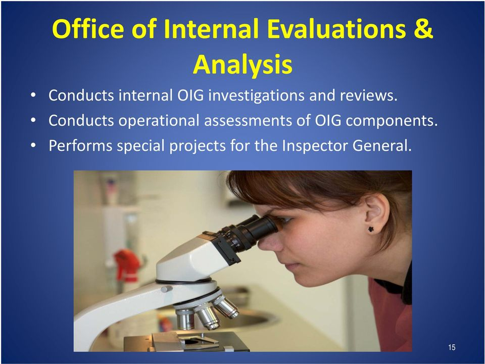 Conducts operational assessments of OIG