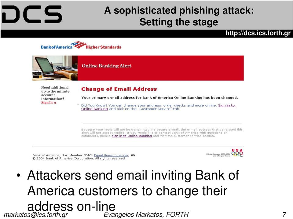 email inviting Bank of America