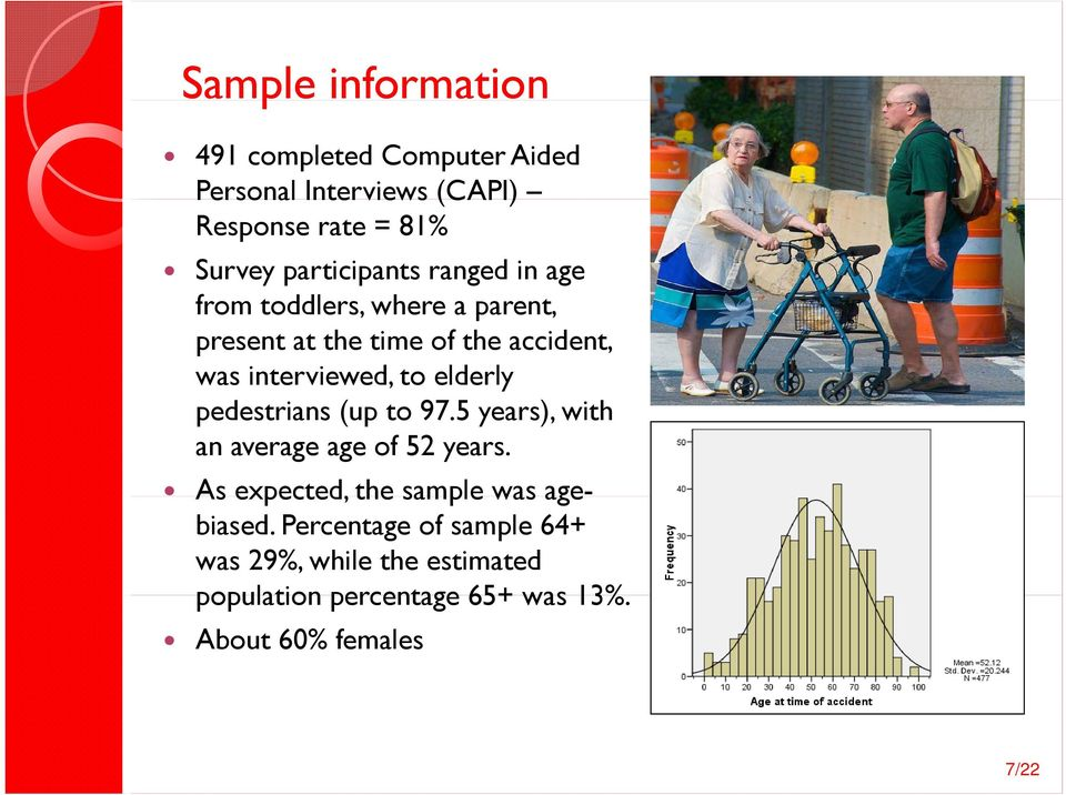 interviewed, to elderly pedestrians (up to 97.5 years), with an average age of 52 years.