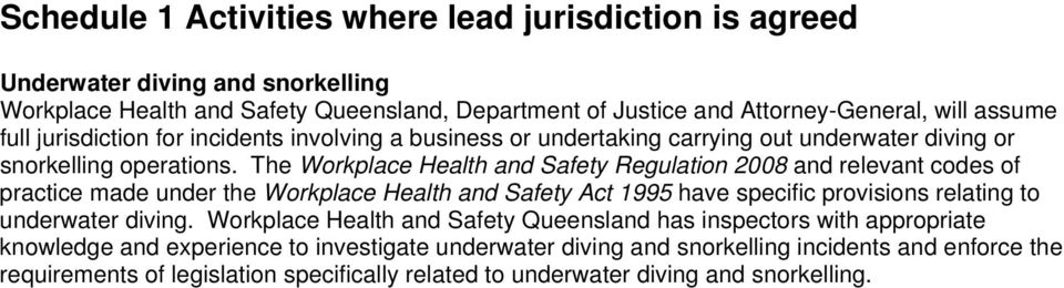 The Workplace Health and Safety Regulation 2008 and relevant codes of practice made under the Workplace Health and Safety Act 1995 have specific provisions relating to underwater diving.