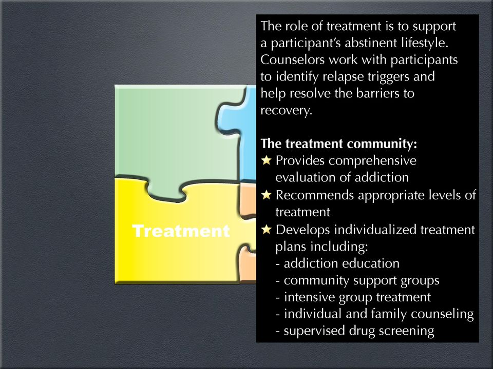 Treatment The treatment community: Provides comprehensive evaluation of addiction Recommends appropriate levels of
