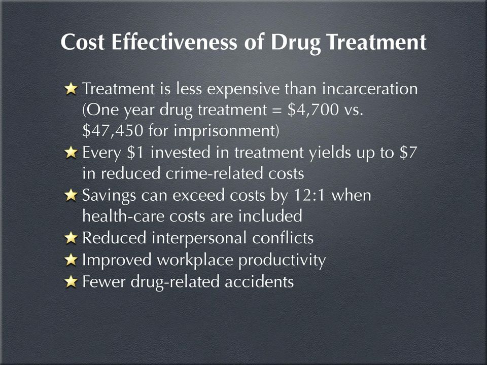 $47,450 for imprisonment) Every $1 invested in treatment yields up to $7 in reduced