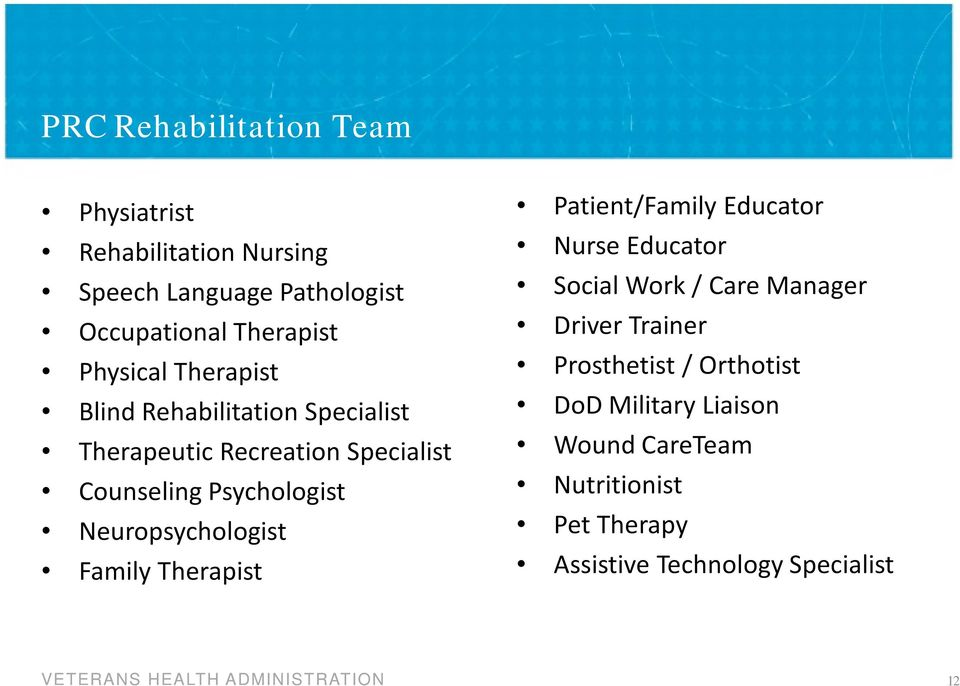 Neuropsychologist Family Therapist Patient/Family Educator Nurse Educator Social Work / Care Manager Driver