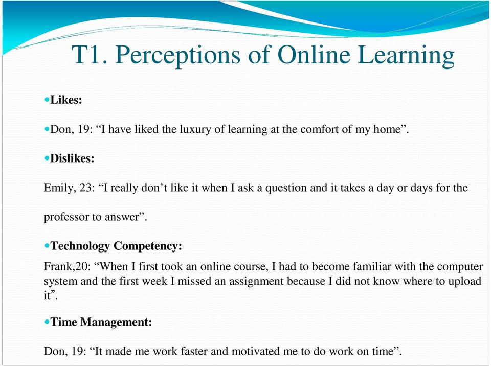 Technology Competency: Frank,20: When I first took an online course, I had to become familiar with the computer system and the