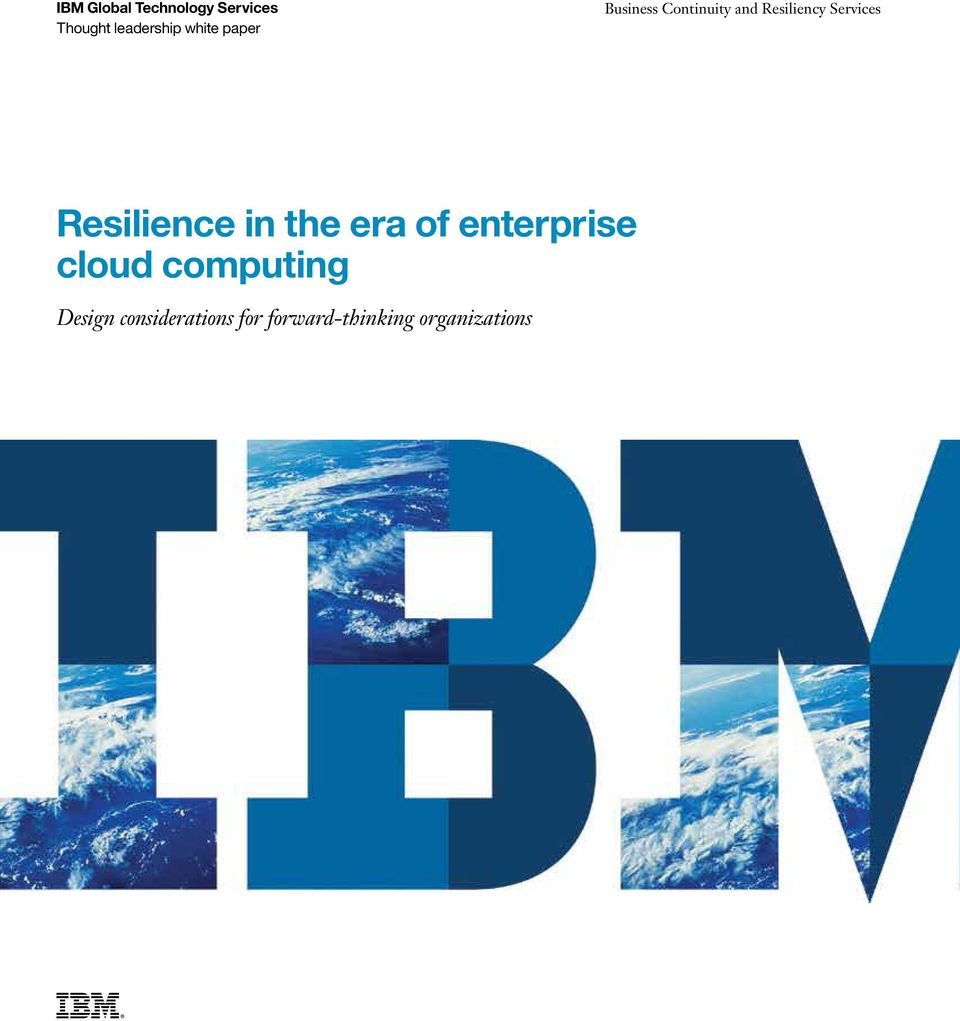 Services Resilience in the era of enterprise cloud