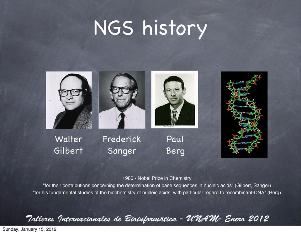 "sequences in nucleic acids"" (Gilbert, Sanger) ""for his fundamental studies of"