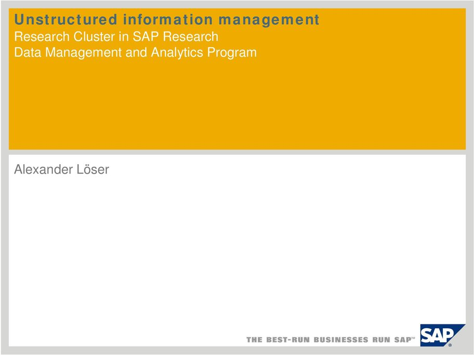 SAP Research Data Management