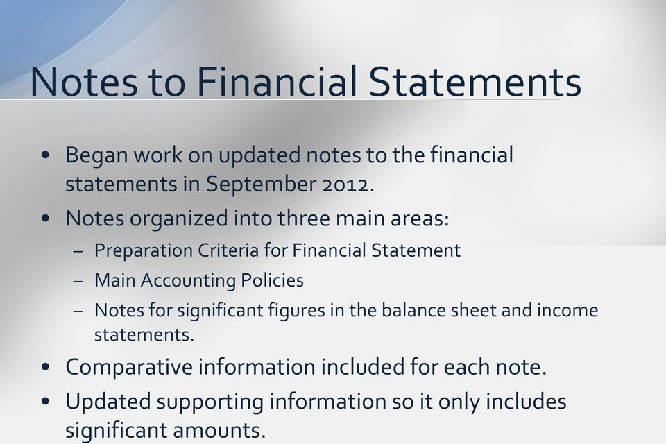 Accounting Policies Notes for significant figures in the balance sheet and income statements.