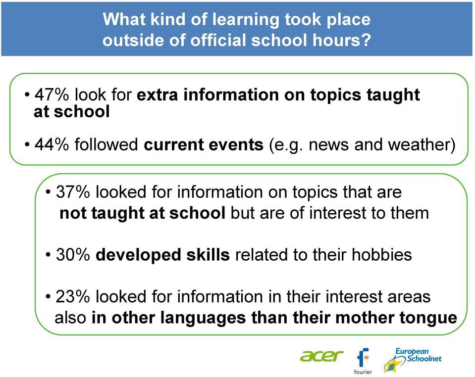 t at school 44% followed current events (e.g.