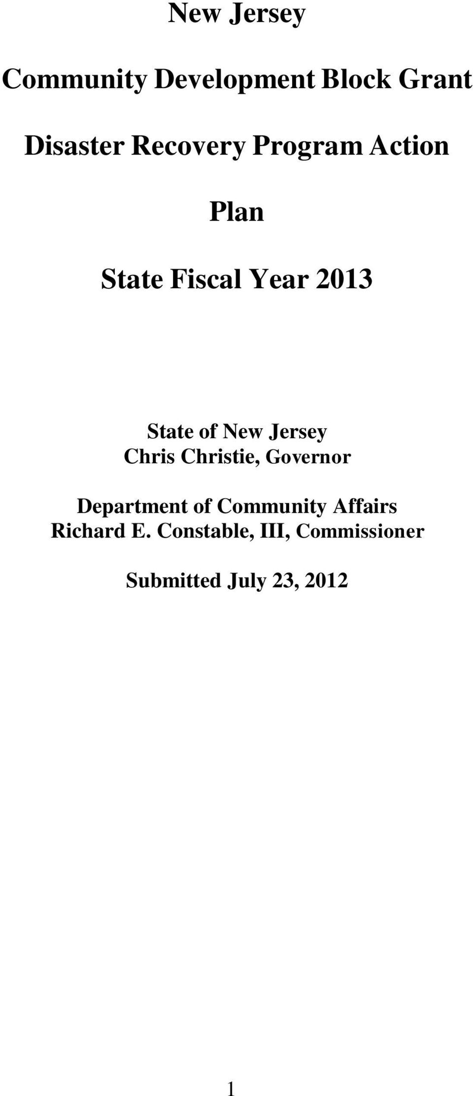 New Jersey Chris Christie, Governor Department of Community