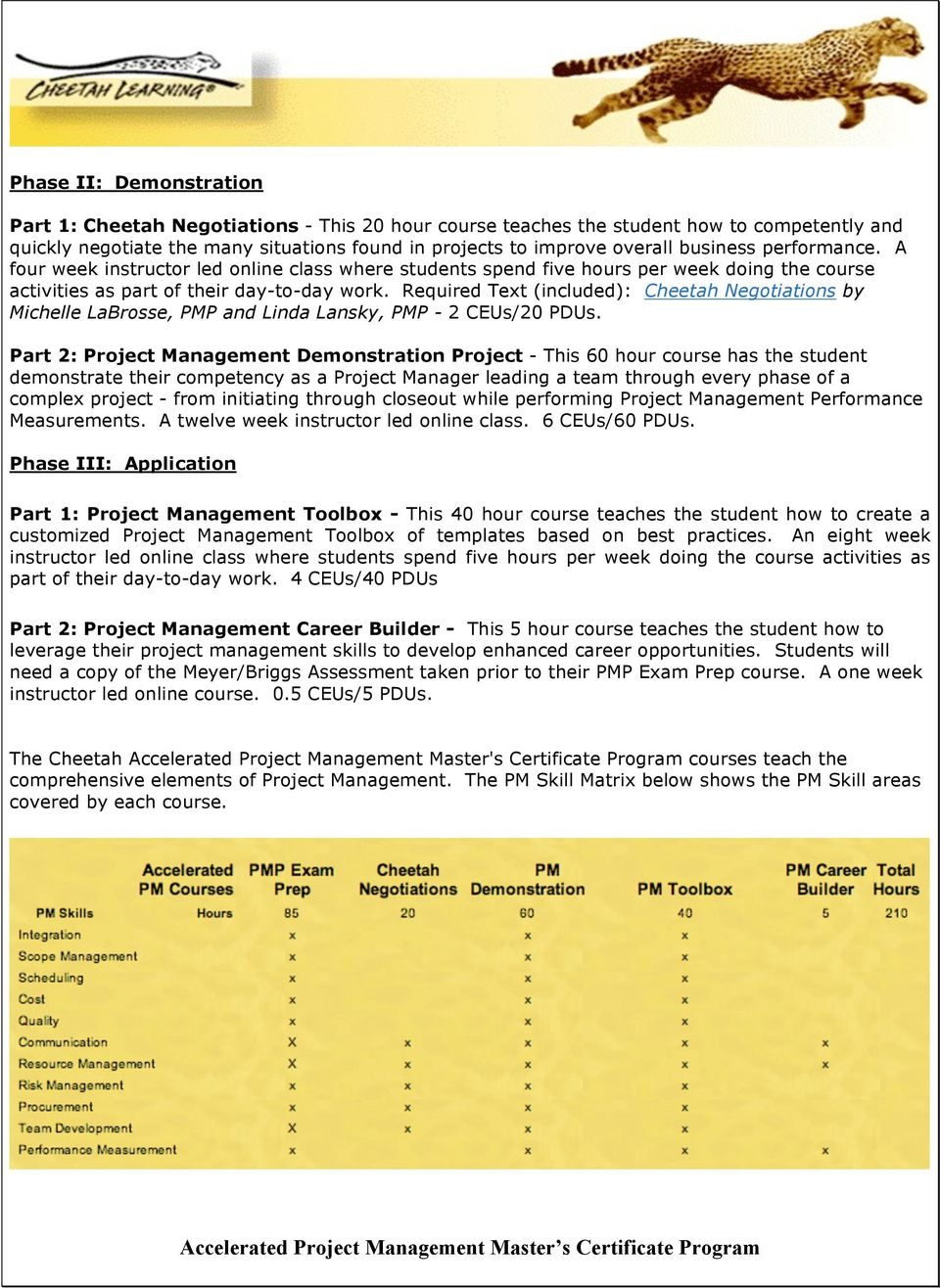 Required Text (included): Cheetah Negotiations by Michelle LaBrosse, PMP and Linda Lansky, PMP - 2 CEUs/20 PDUs.
