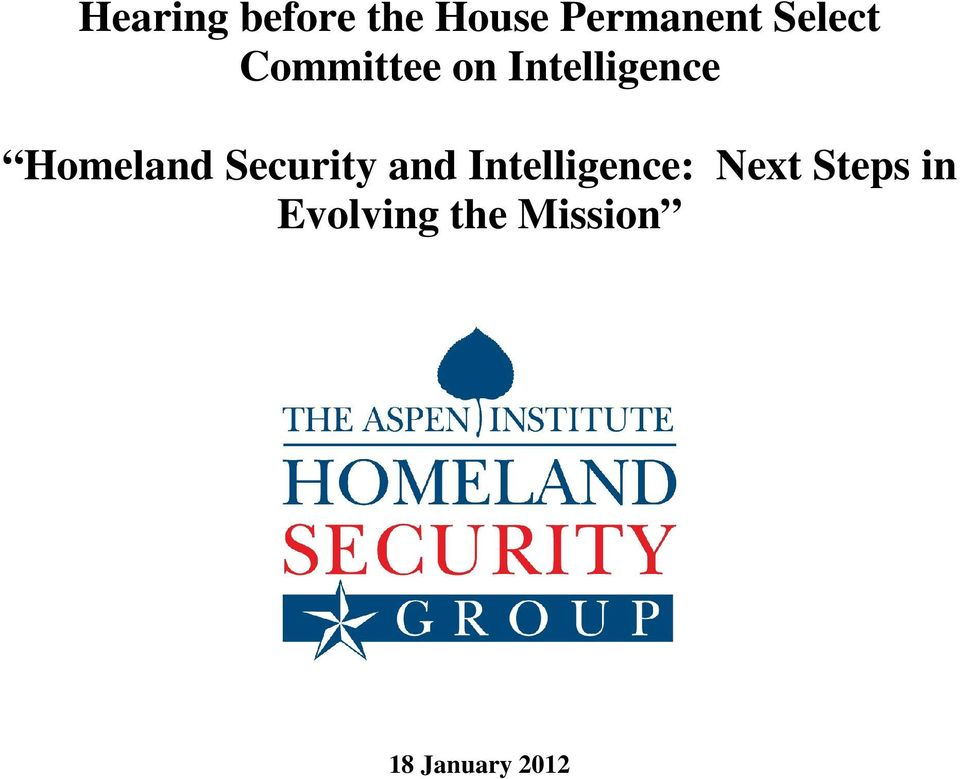 Homeland Security and Intelligence: