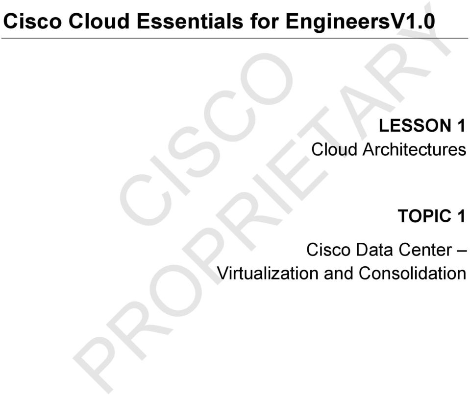 0 LESSON 1 Cloud Architectures