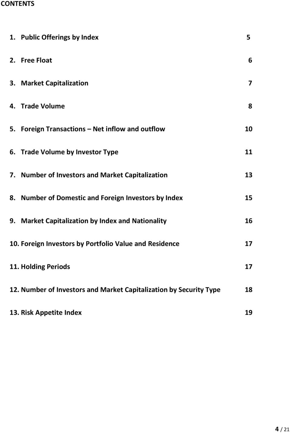 Number of Investors and Market Capitalization 13 8. Number of Domestic and Foreign Investors by Index 15 9.