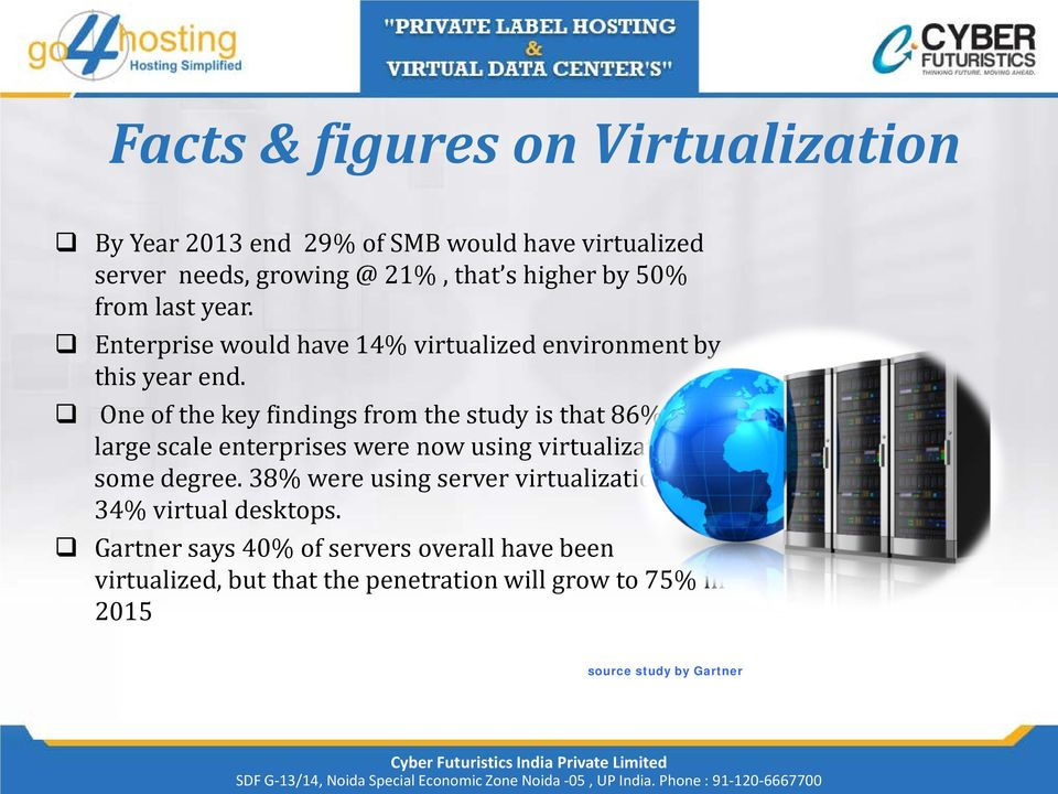 One of the key findings from the study is that 86% of all large scale enterprises were now using virtualization to some degree.
