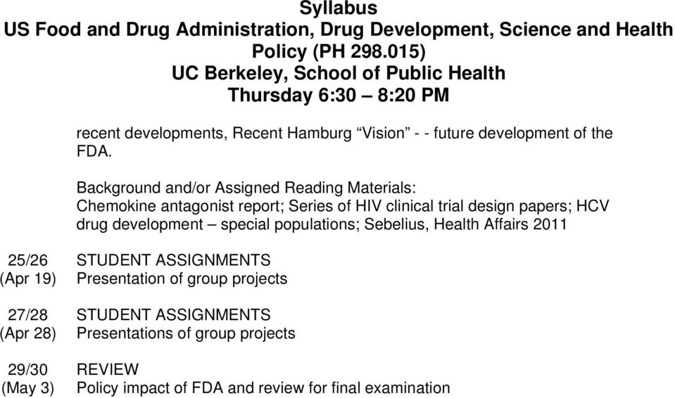 populations; Sebelius, Health Affairs 2011 25/26 (Apr 19) 27/28 (Apr 28) 29/30 (May 3) STUDENT ASSIGNMENTS