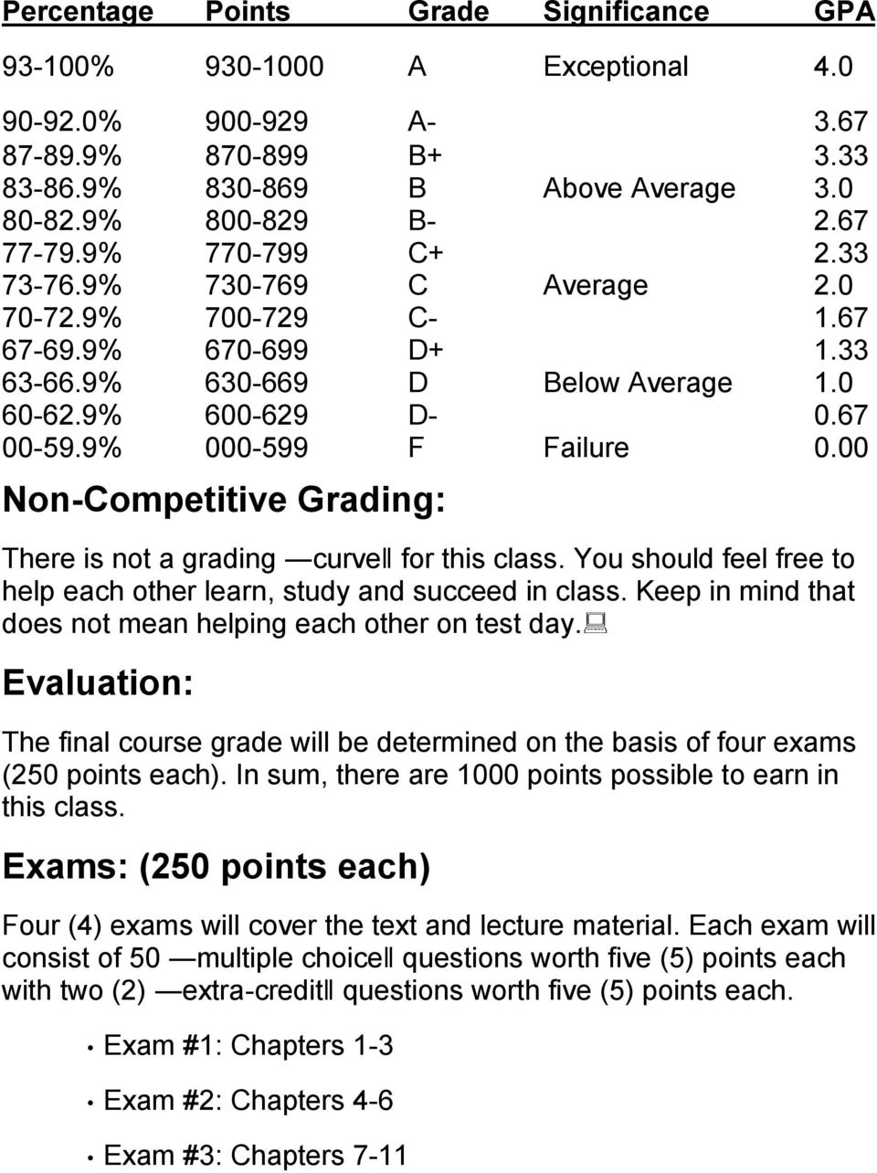 00 Non-Competitive Grading: There is not a grading curve for this class. You should feel free to help each other learn, study and succeed in class.