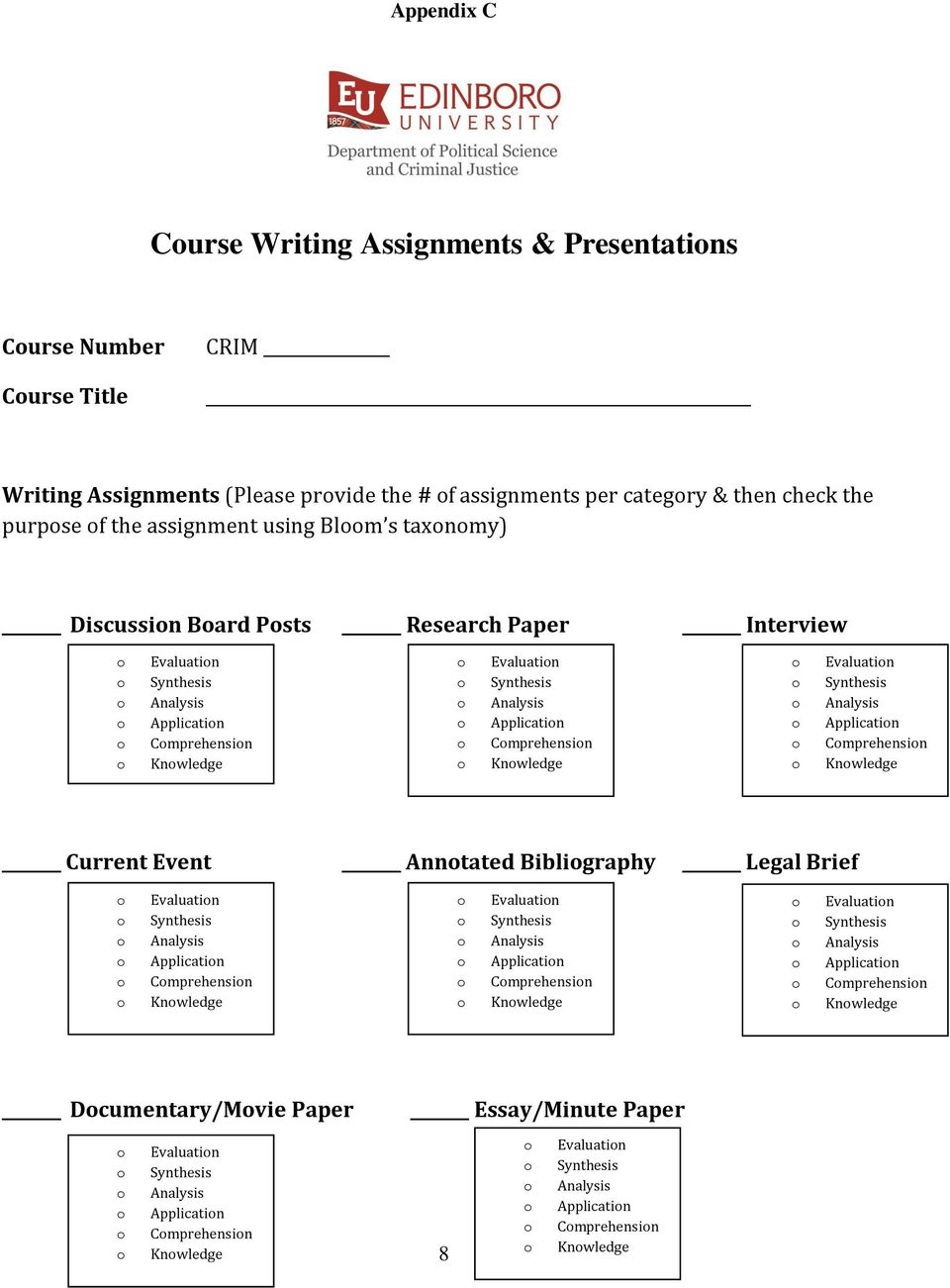 Knwledge Evaluatin Applicatin Cmprehensin Knwledge Current Event Anntated Bibligraphy Legal Brief Evaluatin Applicatin Cmprehensin Knwledge Evaluatin Applicatin