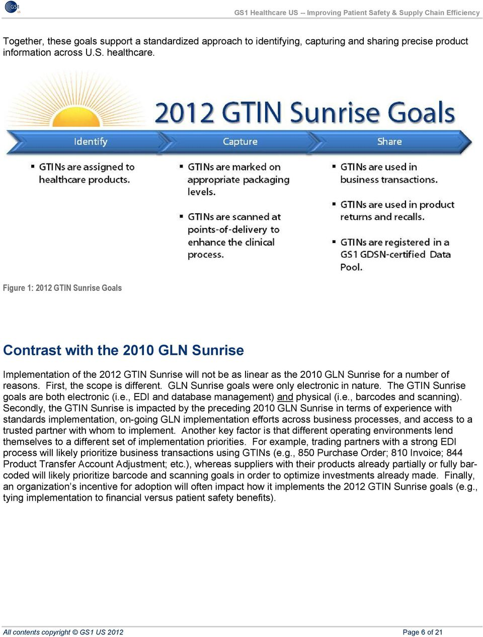 First, the scope is different. GLN Sunrise goals were only electronic in nature. The GTIN Sunrise goals are both electronic (i.e., EDI and database management) and physical (i.e., barcodes and scanning).