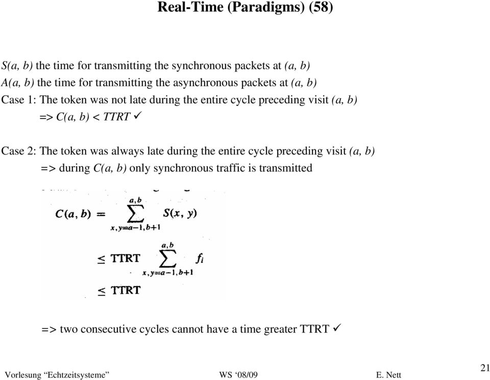 preceding visit (a, b) => C(a, b) < TTRT Case 2: The token was always late during the entire cycle preceding visit