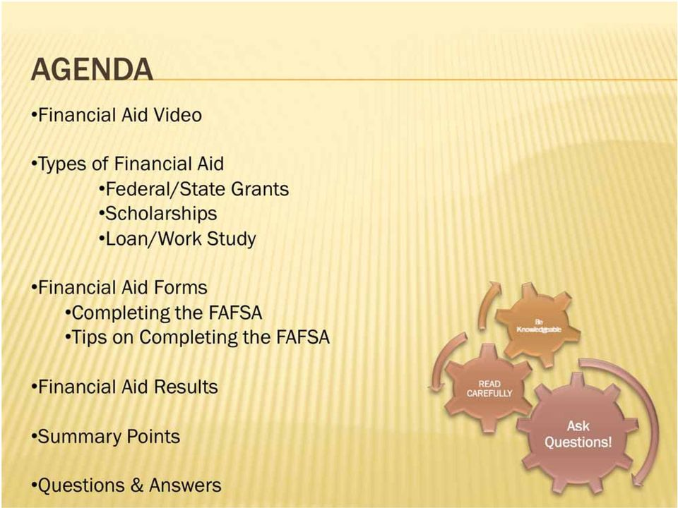 Financial Aid Forms Completing the FAFSA Tips on
