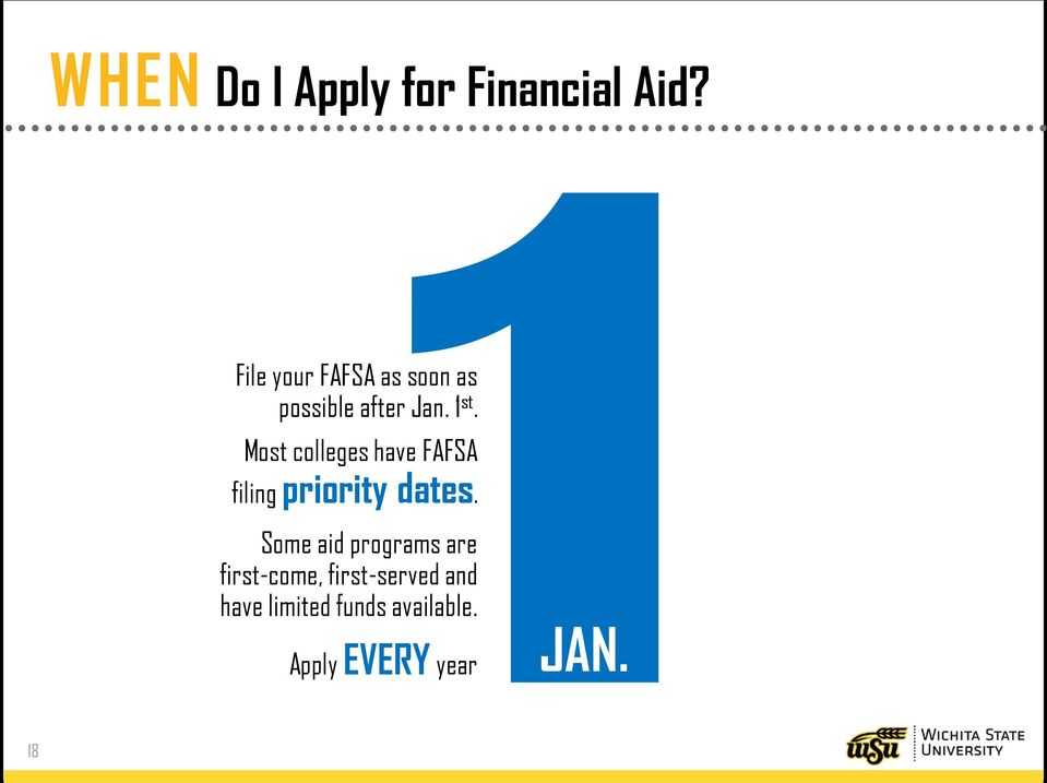 Most colleges have FAFSA filing priority dates.