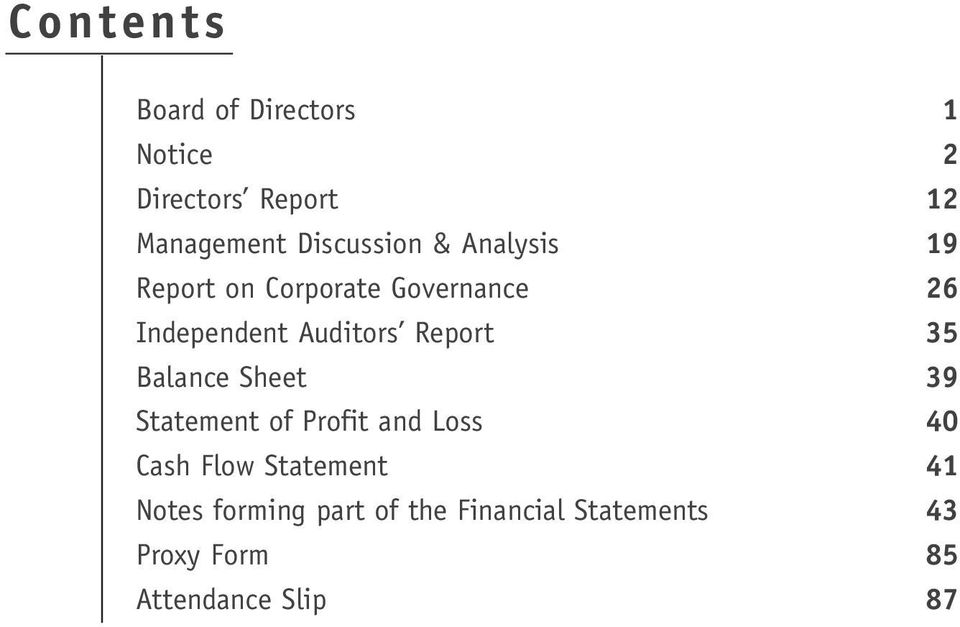 Auditors Report 35 Balance Sheet 39 Statement of Profit and Loss 40 Cash Flow