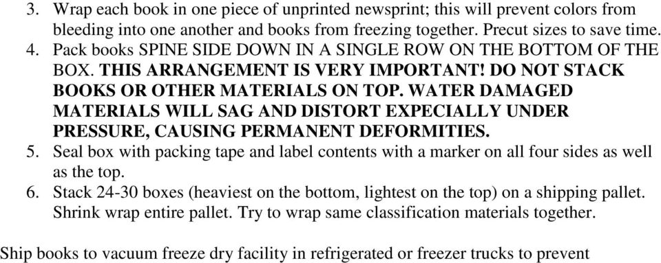 WATER DAMAGED MATERIALS WILL SAG AND DISTORT EXPECIALLY UNDER PRESSURE, CAUSING PERMANENT DEFORMITIES. 5.