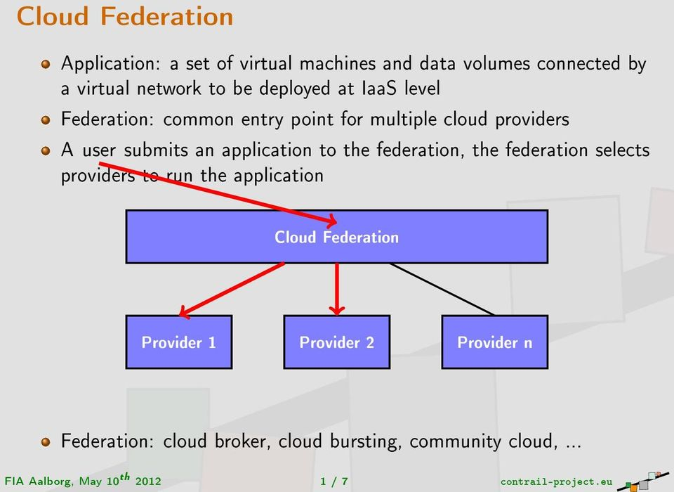 the federation, the federation selects providers to run the application Cloud Federation Provider 1 Provider 2