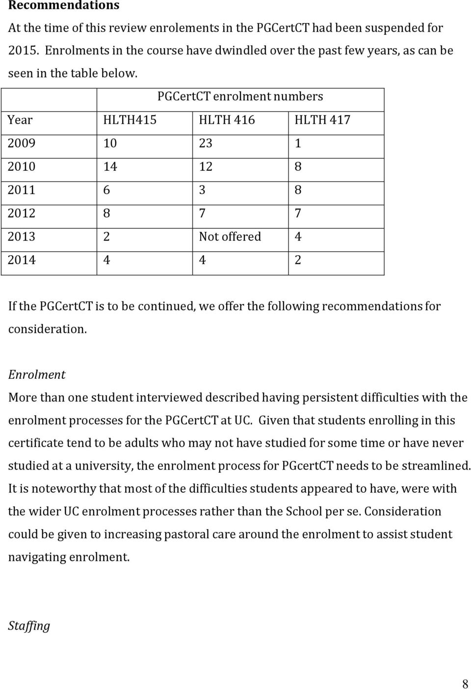 recommendations for consideration. Enrolment More than one student interviewed described having persistent difficulties with the enrolment processes for the PGCertCT at UC.
