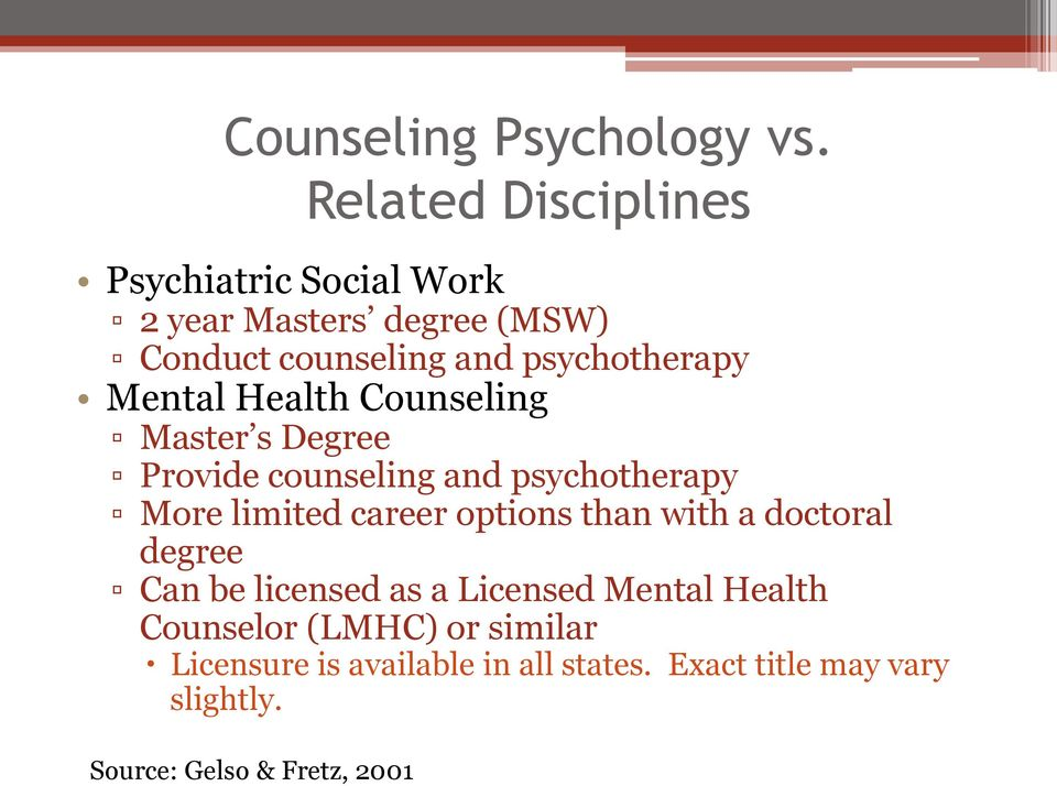 Mental Health Counseling Master s Degree Provide counseling and psychotherapy More limited career options