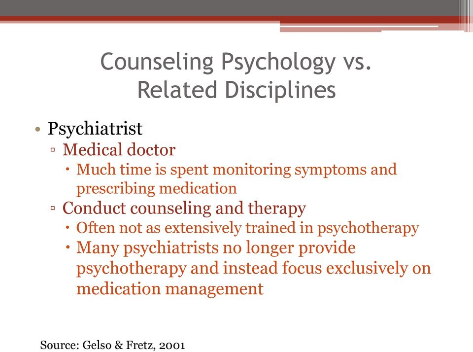 and prescribing medication Conduct counseling and therapy Often not as extensively