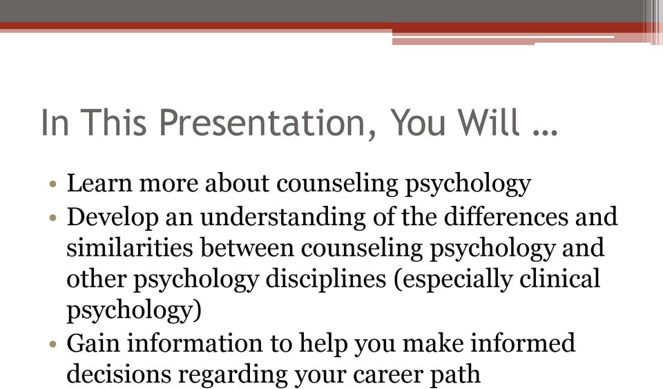 counseling psychology and other psychology disciplines (especially clinical
